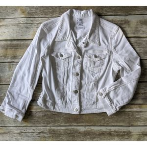 Guess The Diane Cropped Denim White Jacket